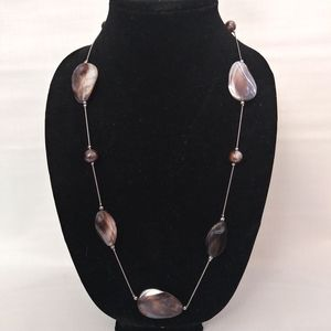 Sliver tone polished shell 16inch necklace